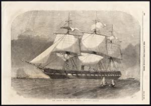 Antique Print-STEAM FRIGATE-SAILING SHIP-USS MERRIMACK-USA-Smyth-1856