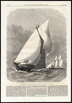 Antique Print-SAILING SHIP-INTERNATIONAL YACHT RACE-SAPPHO-CAMBRIA-1870