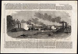Antique Print-GUNBOAT-FORT PILLOW-MISSISSIPPI RIVER-CIVIL WAR-CONFEDERATE-1862