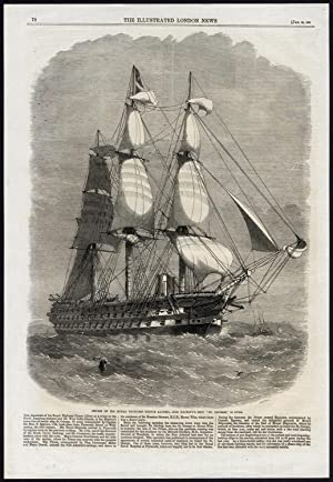 Antique Print-SAILING SHIP-HMS ST GEORGE-PRINCE ALFRED-CRUISE-Smith-1861