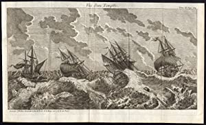 Antique Print-SHIPS-STORM-SEA-Le Bas-1750