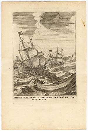 Rare Antique Print-SAILING-SHIP-MARIA DE MEDICI-NAVIGATION-la Serre-1639
