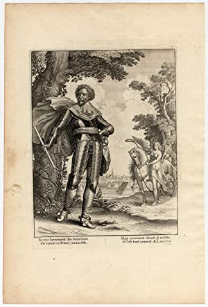 Rare Antique Print-FREDERICK HENRY-PRINCE OF ORANGE-LAUREL CROWN-la Serre-1639