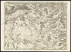 Antique Map-BELGIUM-FRANCE-MONS-CAMBRAY-VALENCIENNES-LANDRECY-Crepy-Fricx-1743
