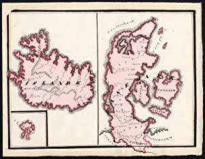 Unique Manuscript Map-ICELAND-DENMARK-FAROE ISLANDS-EUROPE-Dumont-1865