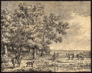 Antique Drawing-LANDSCAPE-RIDER-HORSE-DOG-COW-Andriessen-ca. 1780