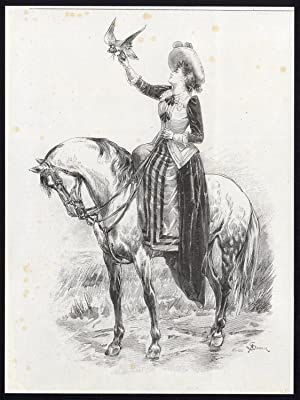 Antique Print-LADY-HORSEBACK-FALCONRY-Sandoz-c. 1880