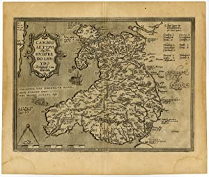 Antique Map-WALES-CUMBRIA-CAMBRIAE-Ortelius-Lhuyd-c. 1600