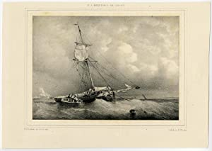 Antique Print-ANCHOR-SHIP-SEA-SAILING-Breuhaus de Groot-ca. 1845