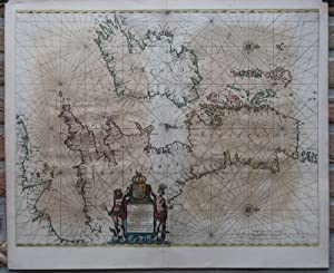 Rare Antique Map-CHANNEL-LA MANCHE-ENGLAND-FRANCE-SEA CHART-Janssonius-1650