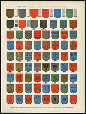 Antique Print-COAT OF ARMS-HERALDRY-SHAPE-BLASON-HATCHING-Larousse-1897