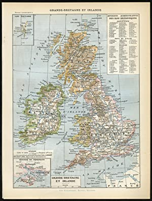 2 Antique Prints-GREAT BRITAIN-IRELAND-ARMY-MAP-WEAPON-FLAG-ARMY-Larousse-1897