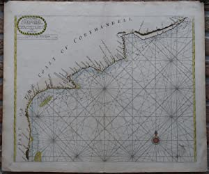 Antique Print-SEA CHART-INDIA-COROMANDEL-ARMAGAON-PETEPOLY-Thronton-1750