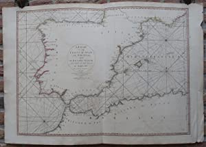 Antique Print-SEA CHART-COAST-SPAIN-PORTUGAL-NORTH AFRICA-Rochette-Faden-1780