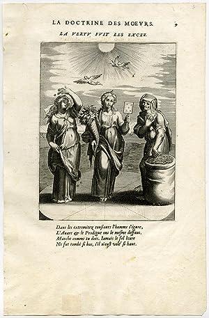 Antique Print-VIRTUE-EXCESS-COINS-CORNUCOPIA-ICARUS-TANTALUS-van Veen-Daret-1646