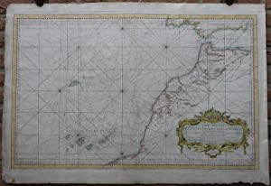 Antique Print-SEA CHART-COAST-MOROCCO-CANARY ISLANDS-SPAIN-Bellin-1753