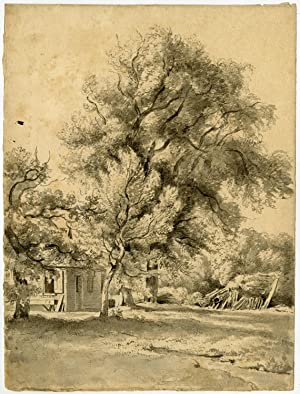 Antique Drawing-LANDSCAPE-FARM-Eymer-ca. 1830