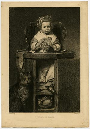 Antique Print-LITTLE GIRL-EATING-WAFFLE-CAT-Maas-Milius-1881
