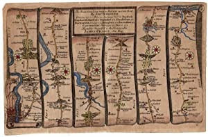 Antique Print-STRIP ROAD MAP-LONDON-CATERBURY-DOVER-Ogilby-Gardner-1719