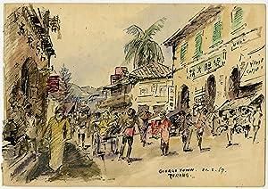 Antique Drawing-PENANG-MALAYSIA-STREET SCENE-GEORGE TOWN-Ligtelijn-1967