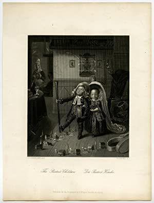 Antique Print-PASTOR-PREACHER-CHILDREN-PLAYING-Hasenclever-Payne-c. 1840