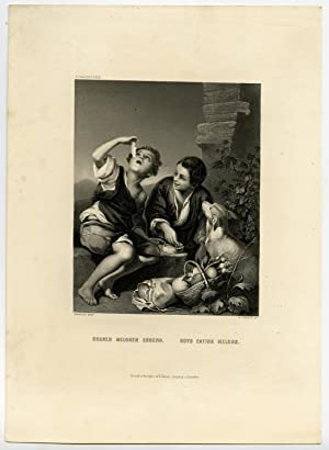 Antique Print-BOYS EATING MELONS-DOG-Murillo-French-c. 1850