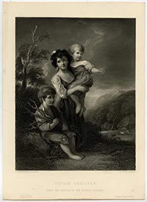 Antique Print-COTTAGE CHILDREN-LANDSCAPE-BOY-GIRL-Gainsborough-Shaw-c. 1850