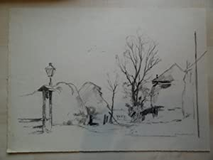 Antique Drawing-FARM-HAYSTACKS-LANDSCAPE-Vreedenburgh-ca. 1930