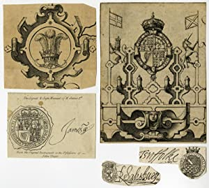 5 Antique Prints-HERALDRY-SIGNATURES-ENGLAND-Anonymous-1611-1795