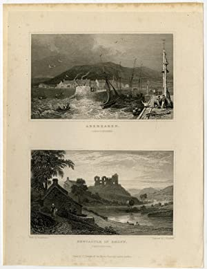 Antique Print-WALES-CARDIGANSHIRE-ABEREARON-NEWCASTLE-Gastineau-Hincliffe-1831