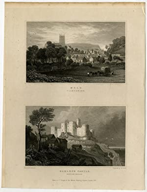 Antique Print-WALES-FLINTSHIRE-MOLD-HARLECH CASTLE-Gastineau-Wallis-1831