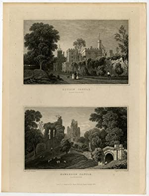Antique Print-WALES-FLINTSHIRE-RUTHIN CASTLE-HAWARDEN-Gastineau-Radclyffe-1831