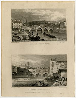 Antique Print-ENGLAND-BATH-OLD-PULTENEY-BRIDGE-Sheperd-Allen-1829