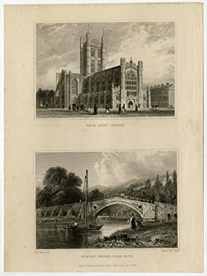 Antique Print-ENGLAND-BATH-ABEEY CHURCH-WESTON-Bartlett-Ardlard-1829