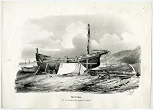 Antique Print-SAILING SHIP-BEACH-SHIPWRIGHT-Last-c. 1840