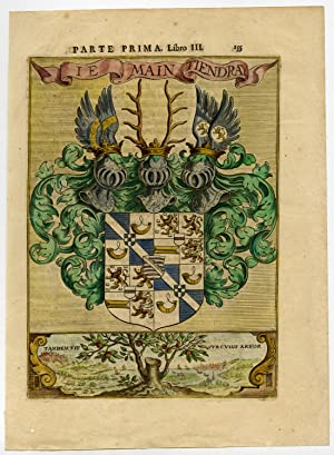 Antique Print-COAT OF ARMS- BELGIUM- NETHERLANDS-COLOURED-Leti-1690