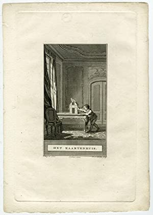 Antique Print-HOUSE OF CARDS-PLAYING CARDS-CHILD-Buys-Meer-ca. 1780