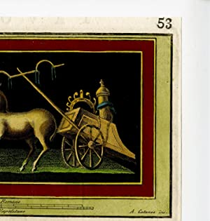 Antique Print-ROMAN ART-HERCULANEUM-DECORATION-DEER-CHARIOT-COLOUR-Morghen-1757
