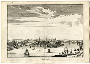 Rare Antique Print-PANORAMIC VIEW OF STOCKHOLM-Lacroix-de Vries-Halma-1705