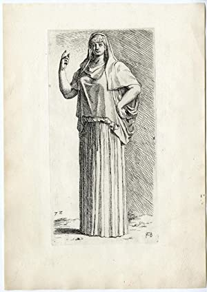 Antique Print-STATUE-ROME-VESTAL VIRGIN-VESTALIS-MYTHOLOGY-72-Perrier-1638