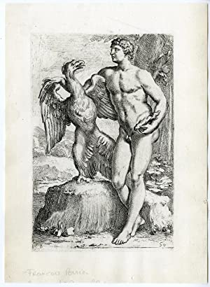Antique Print-STATUE-ROME-GREEK-MYTHOLOGY-GANYMEDES-EAGLE-ZEUS-50-Perrier-1638