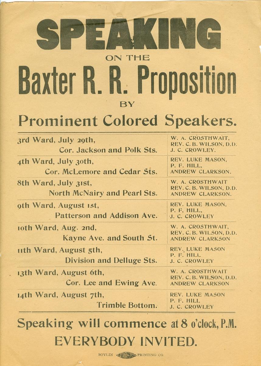 Speaking on the Baxter R. R. Proposition by Prominent Colored Speakers: [Baxter, Jere]