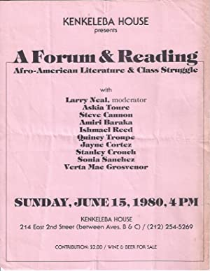 Kenkeleba House Presents a Forum & Reading: Afro-American Literature & Class Struggle: ...