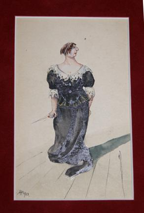 Watercolor Postcard Portrait of Ellen Terry, with Signature: Pothecary, Horace