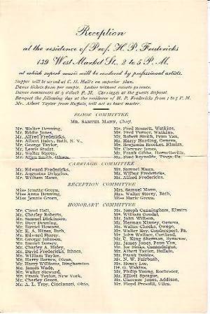 Invitation to Prof. H. P. Fredericks' Third Full Dress Ball, Reception and Banquet Corning, ...