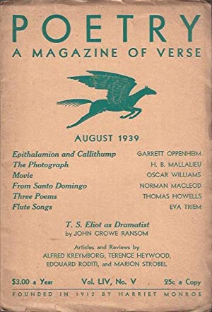 Poetry, a Magazine of Verse August, 1938: Dillon, George (ed. )