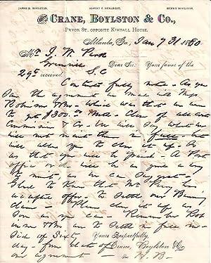 Letter from Crane, Boyleston, & Co. , Atlanta, Georgia: Boyleston, Henry