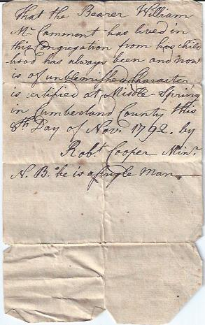 Autograph of Rev. Robert Cooper on Note of Recommendation for Wm McCammont: Cooper, Robert