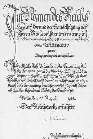 KURT VON SCHLEICHER (1884-1934 ermordet) General & REICHSKANZLER 1932/33