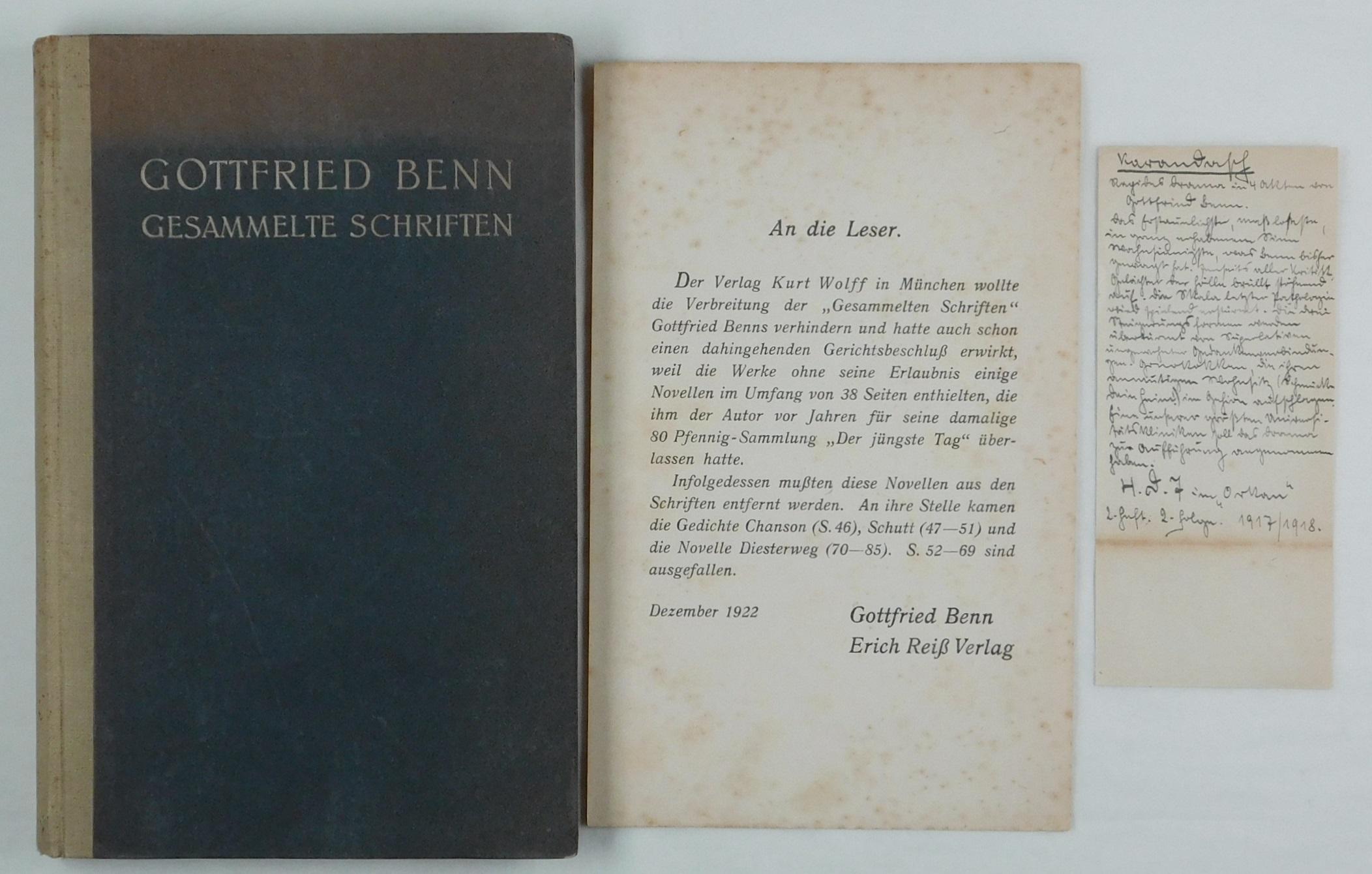 Die gesammelten Schriften.: Benn, Gottfried: